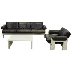 Very Rare Midcentury Leather Lounge Set by Martin Visser for 'T Spectrum, 1960s