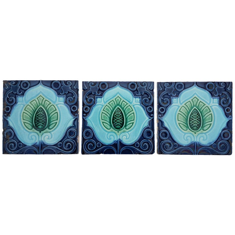 3 Original  Art Deco Tiles  by Gilliot Hemiksen, circa 1930