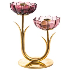 Gunnar Ander Candleholder for Ystad Metal with Flowers in Brass