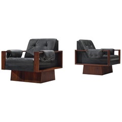 Cubist Rosewood and Black Leather Armchairs