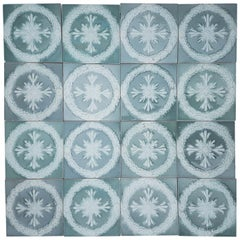 30 Glazed Ceramic Art Deco Tiles by Gilliot, circa 1930s