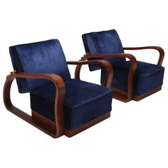 Art Deco Adjustable Lounge Chairs in Blue Velvet Halabala Style