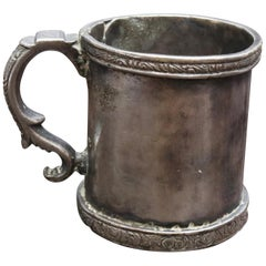18th-19th Century Cylinder Shaped Silver Cup with Handle Possibly Bolivian