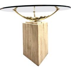 Travertine Marble and Brass Dining Table