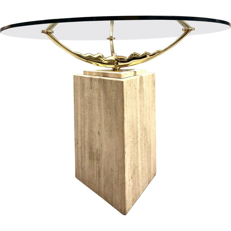 Travertine Marble and Brass Dining Table For Sale