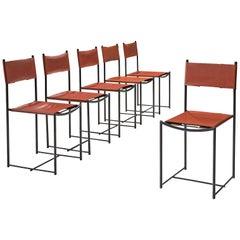 G. Belotti Set of Six Red Leather Spaghetti Chairs