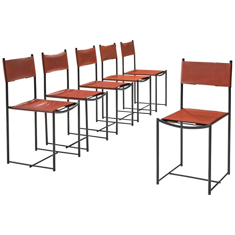 G. Belotti Set of Six Red Leather Spaghetti Chairs For Sale