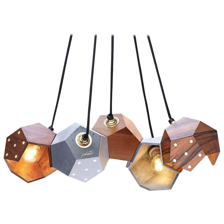 Basic Twelve Quintet Walnut and Concrete Pendant Lamp by Plato Design For Sale
