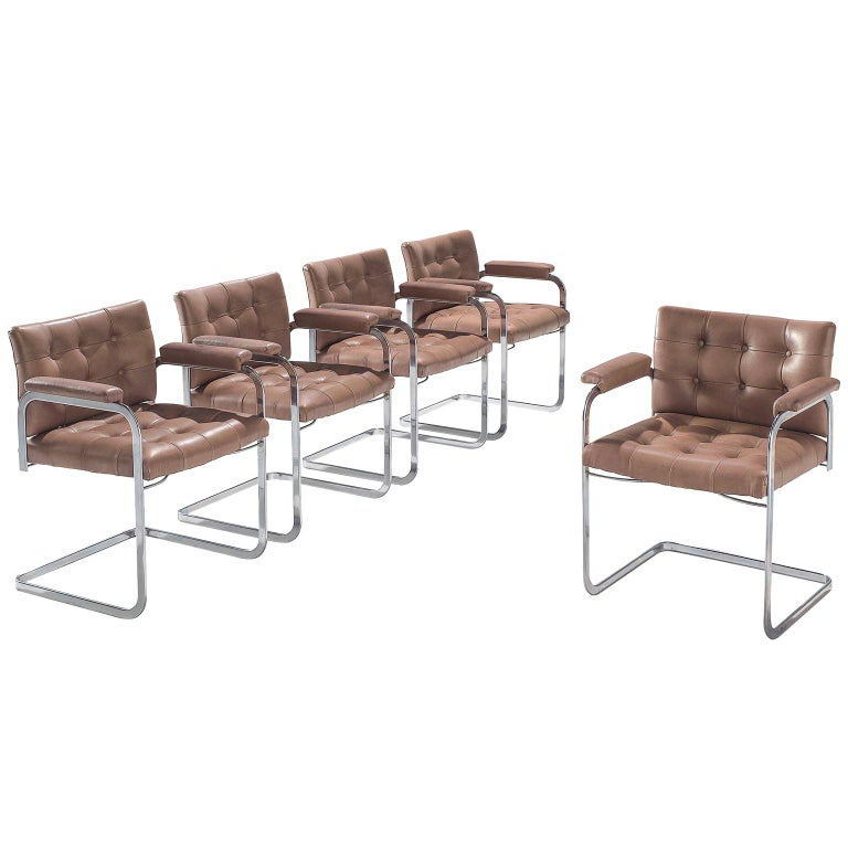 Robert Haussmann Set of Five Leather Armchairs For Sale