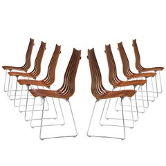 Hans Brattrud Set of 'Scandia' Dining Chairs in Rosewood