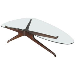 Sculptural Walnut and Glass Cocktail Table in the Style of Vladimir Kagan