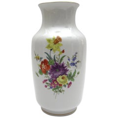 Big Meissen Porcelain Vase with Very Nice Flower Bouquet and Goldpainting