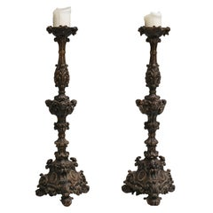 17th Century Pair of Italian Wooden Pricket Sticks