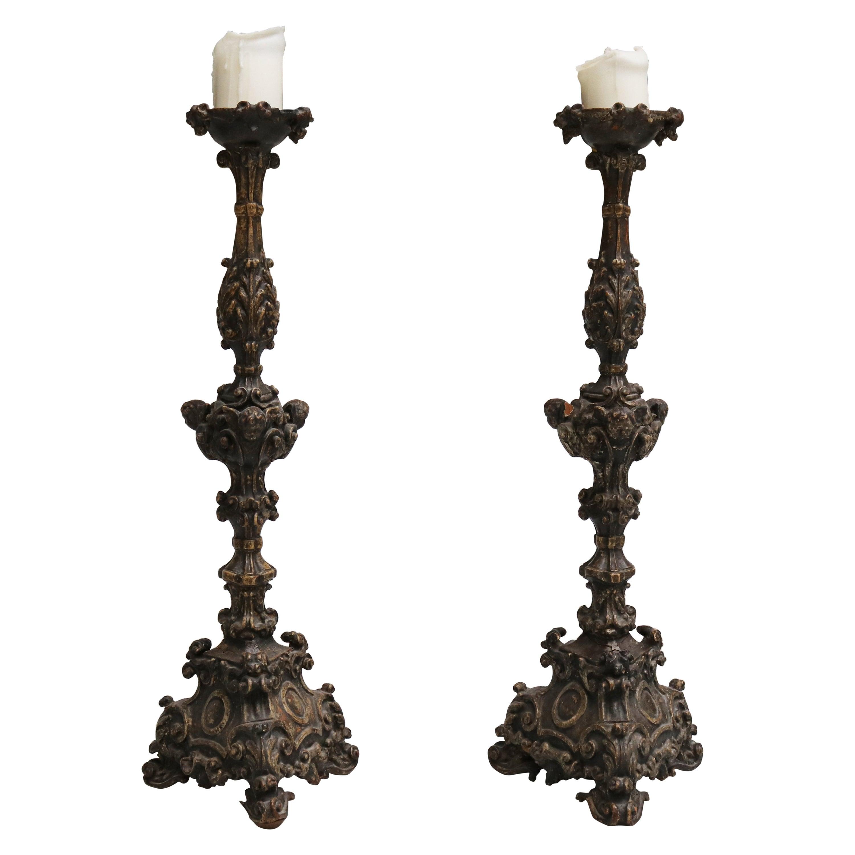 17th Century Pair of Italian Wooden Pricket Sticks