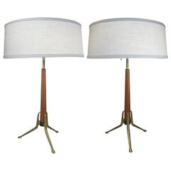 Pair of Brass and Walnut Lamps by Gerald Thurston for Lightolier