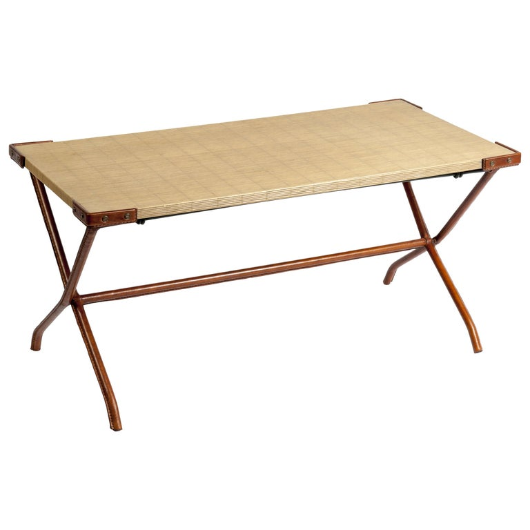 1950s Stitched Leather Cocktail Table by Jacques Adnet For Sale