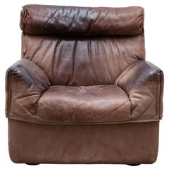 1970s Minimalist Brown Leather Lounge, Side chair by COR, Germany
