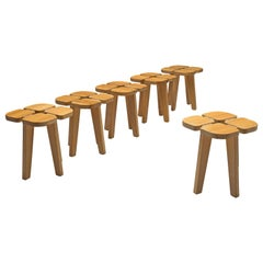 Lisa Johansson-Pape Set of Six 'Apila' Stools in Solid Pine