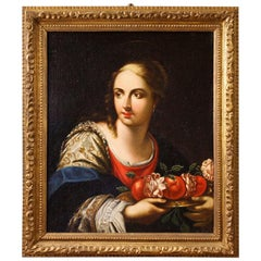 18th Century Oil on Canvas Italian Painting Portrait of Young Lady with Fruits