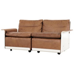 Dieter Rams Sofa RZ 62, 1962 by Vitsœ, Germany, Chocolate Leather, 2-Seat