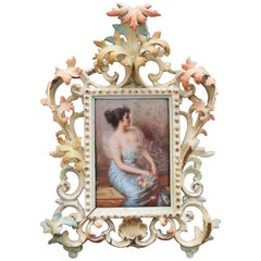 19th Century Signed Viennese Glazed Porcelain Lady Portrait with Frame