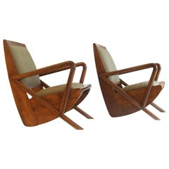 Pair of Midcentury Burma Bentwood Lounge Chairs