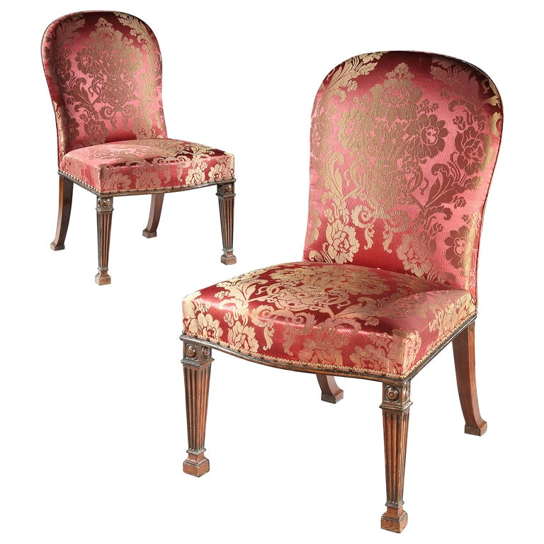 Pair of 18th Century George III Mahogany Chairs possibly by Thomas Chippendale For Sale