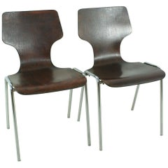 Set of 2 1970s Vintage Stackable Chairs