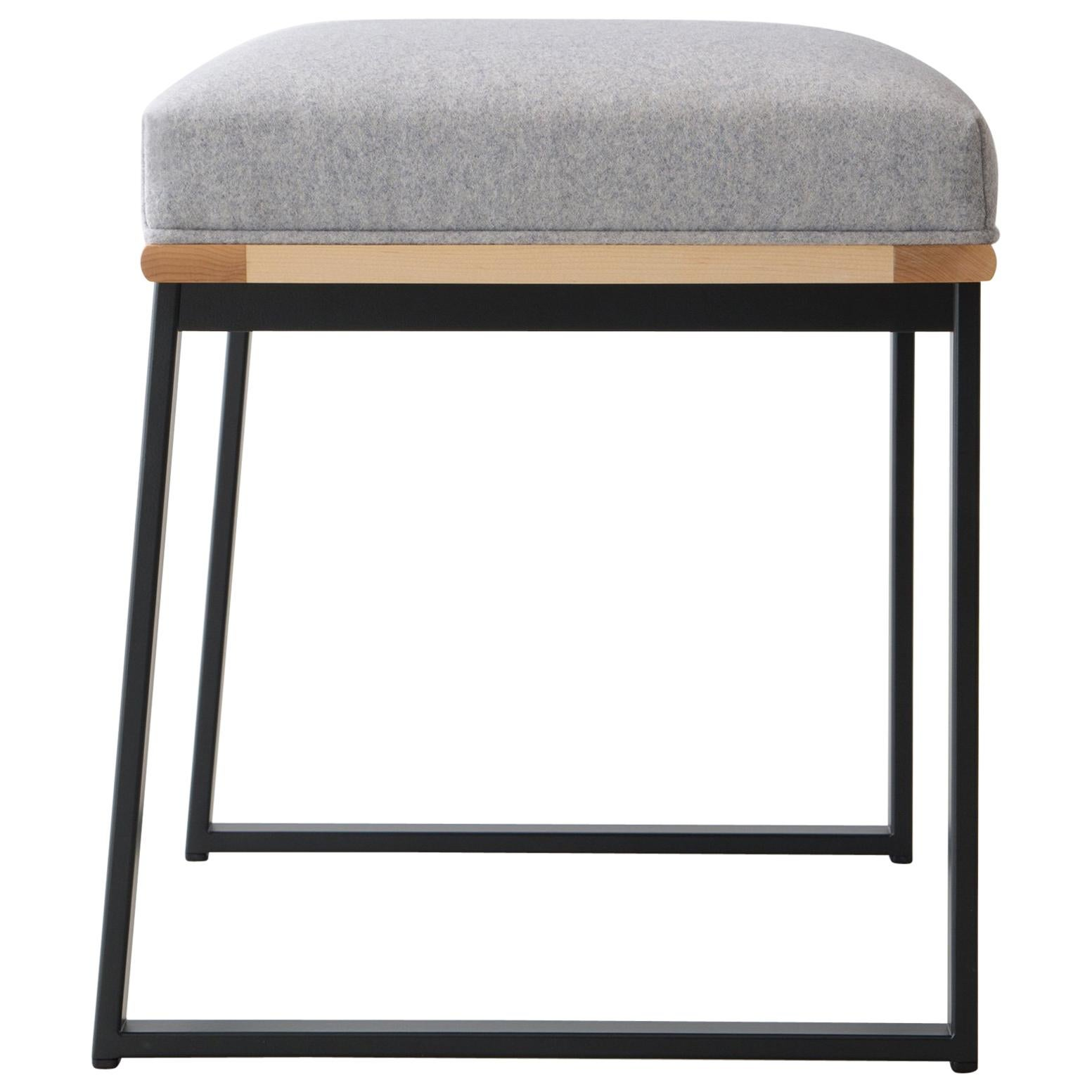 DGD Dining Stool, Upholstery in Felt, Bouclé or COM, Made in USA
