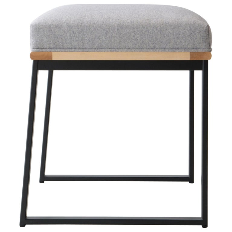 DGD Dining Stool, Powder Coated Steel, Maple, Wool Upholstery, Handmade in USA For Sale