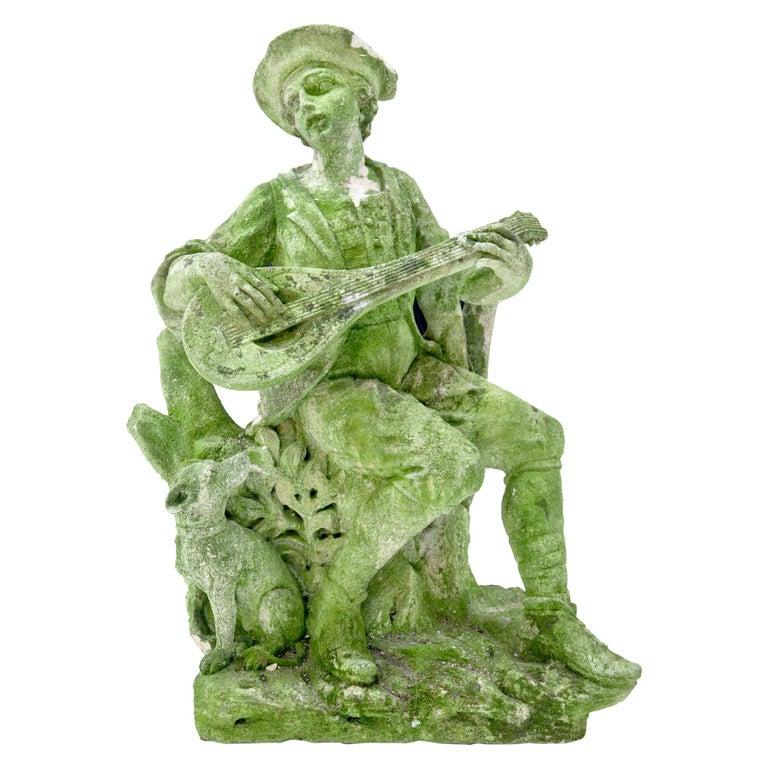 Garden Sculpture of a Musician, prob. Italy, 20th Century For Sale