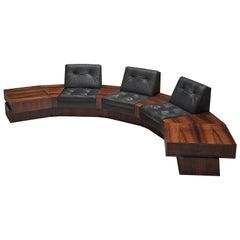 Rosewood and Black Leatherette Modular Sofa