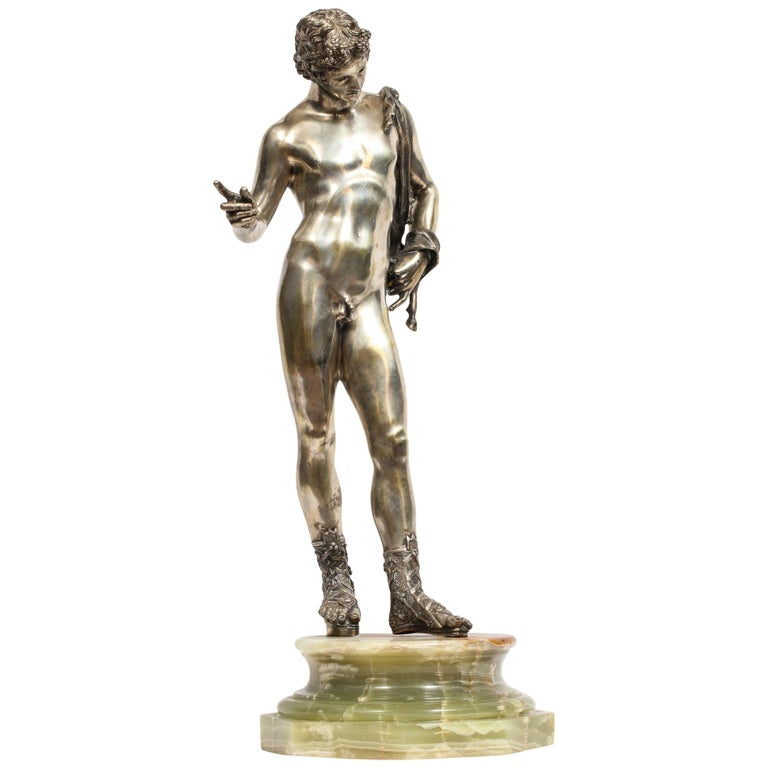 Large Rare Italian Silver Figure Statue of Narcissus, after the Antique For Sale