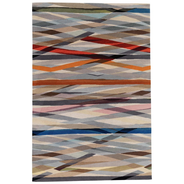 Carnival Hand-Knotted 9x6 Rug in Wool by Paul Smith For Sale