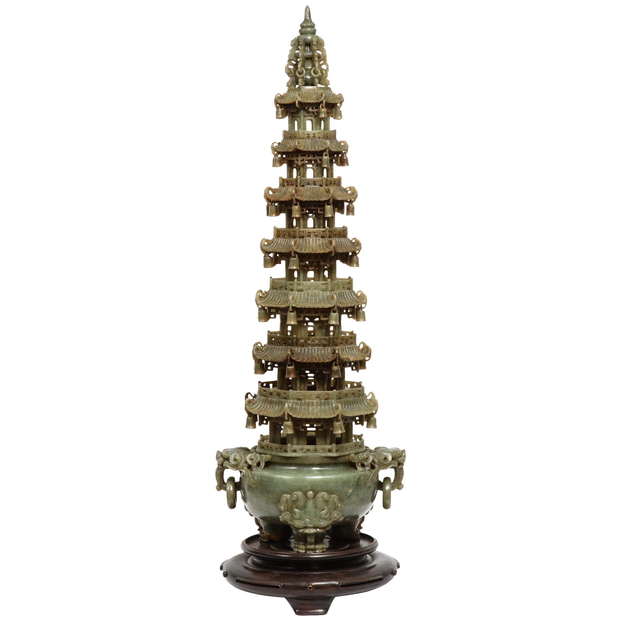 Monumental Chinese Serpentine Jade Carved Pagoda Censer, Early 20th Century
