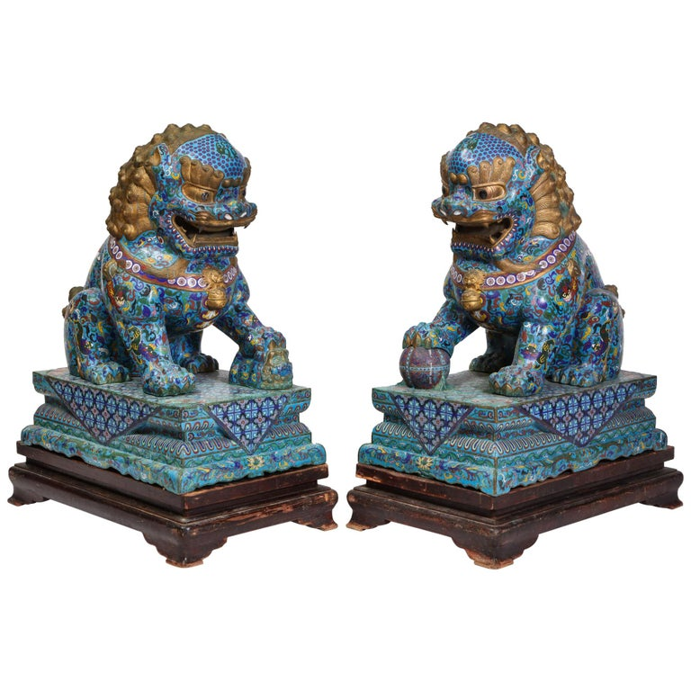 Massive Pair of Chinese Cloisonne Enamel Foo Dogs Lions on Wood Stands For Sale