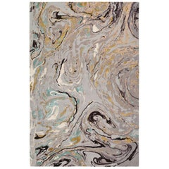 Marble Hand Knotted 12x9 Rug in Wool and Silk by Rodarte