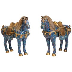 Large Pair of Chinese Cloisonné Enamel Horses