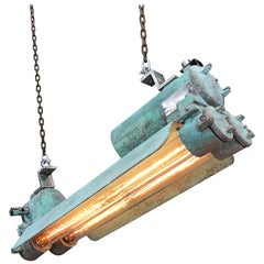 1970s Industrial Aluminium and Brass Flame Proof Strip Light, Copper Verdigris