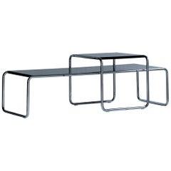 Marcel Breuer Steel 'Laccio' Side Table Set, Bauhaus