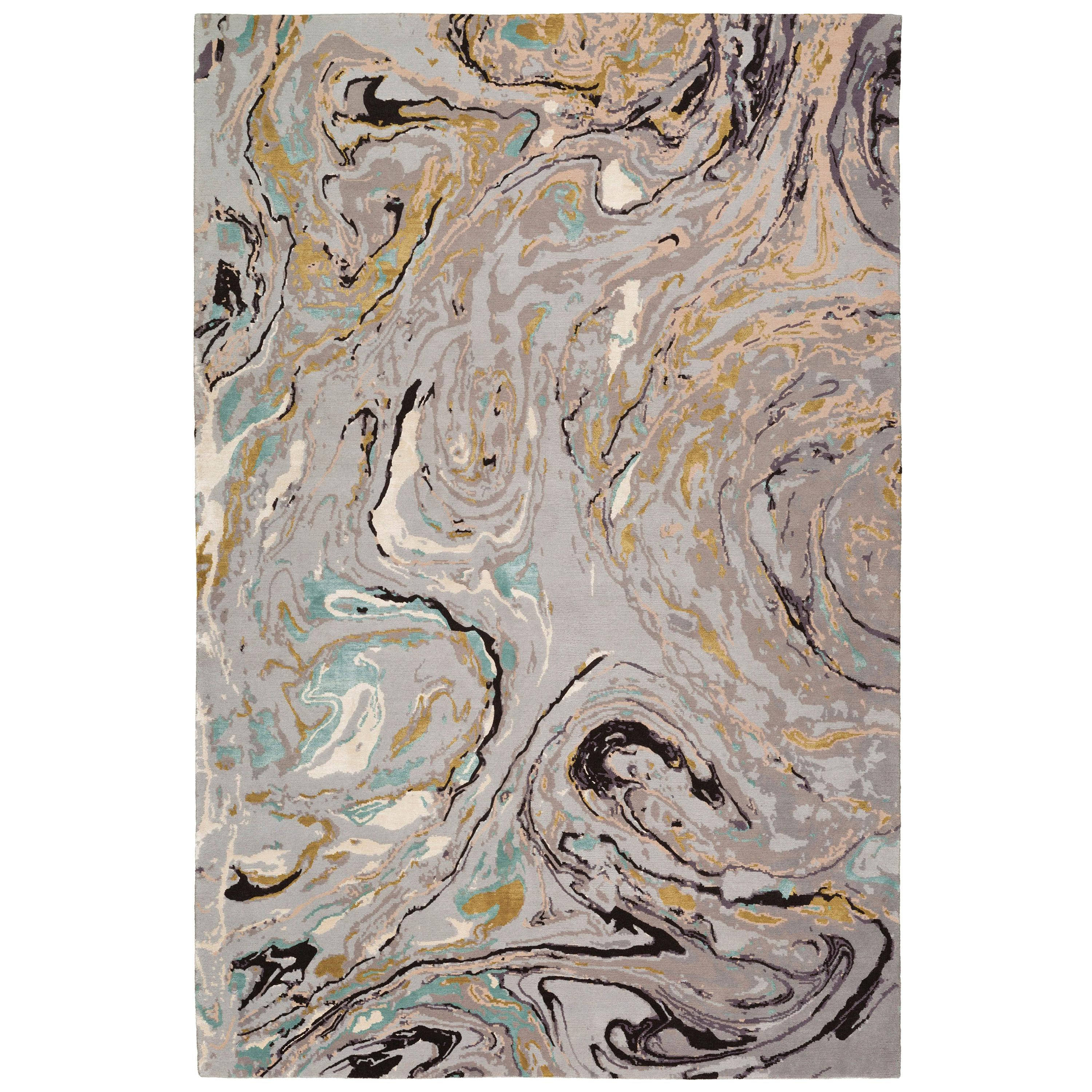 """Marble Hand-Knotted 7'6""""x5' Rug in Wool and Silk by Rodarte"""
