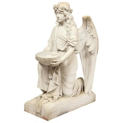 Monumental Italian White Marble Figure Sculpture of a Seated Winged Woman, 1870