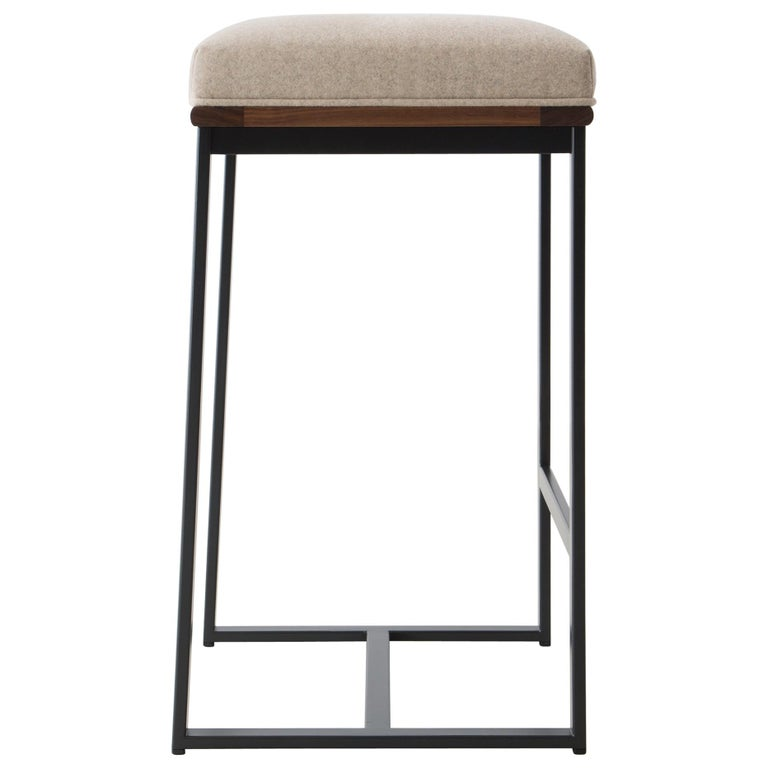 DGD Backless Counter Stool, Powder Coated Steel, Oak, Wool, Handmade in USA For Sale