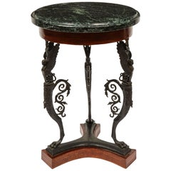 Neoclassical Greek Revival Bronze and Marble Gueridon Table, Sabatino de Angelis