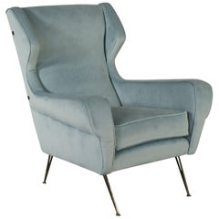 Armchair Fabric Upholstery Foam Padding Vintage, Italy, 1950s