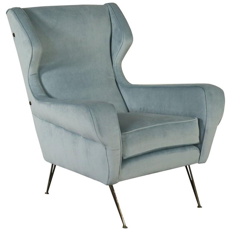 Armchair Fabric Upholstery Foam Padding Vintage Italy 1950s For
