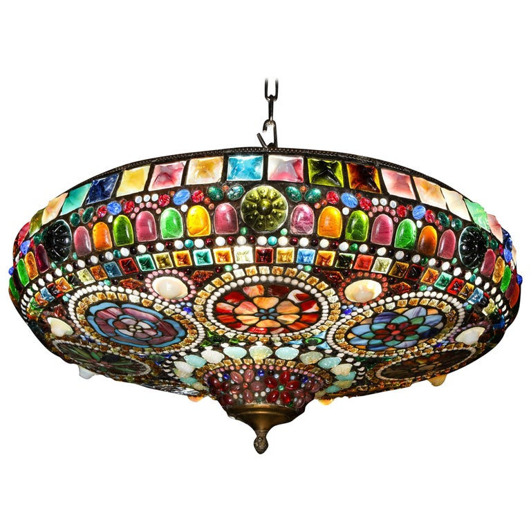 Magnificent Stained Tiffany Leaded Glass Ceiling