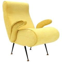 Italian Midcentury Armchair with Yellow Fabric, 1950s
