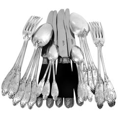 Henin Gorgeous French Sterling Silver Dinner Flatware Set of 49 Pieces Flowers