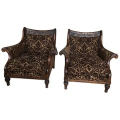 Pair of Classically Beautiful Carved Walnut and Upholstered Club Chairs